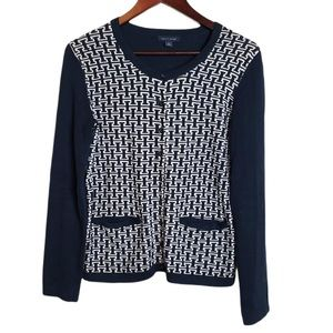 Tommy Hilfiger Navy White Button front sweater S